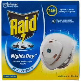 RAID NIGHT&DAY ELETTRODIFFUSORE + RICARICA PER ZANZARE TIGRE E COMUNI