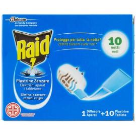 RAID PIASTRINE ANTIZANZARE BASE CON SPINA+10 PIASTRINE AZIONE RAPIDA